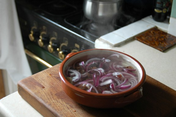 Steeped red onions and mejool dates