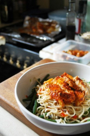 Spicy Sriracha Fish Noodles