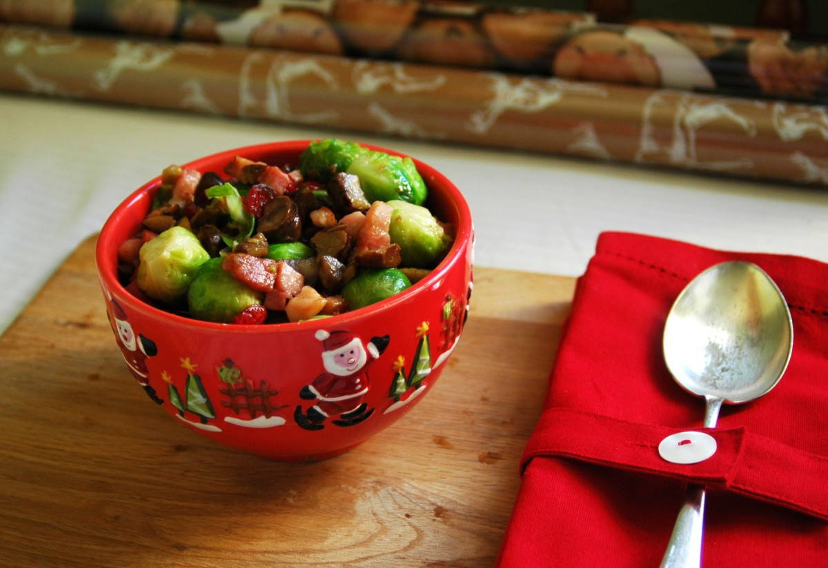 Brussel Sprouts With Bacon Chestnuts And Cranberries
