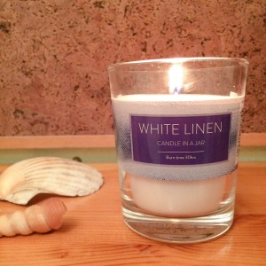 Tesco white linen candle review