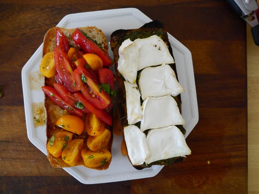 Pesto and goats cheese ciabatta