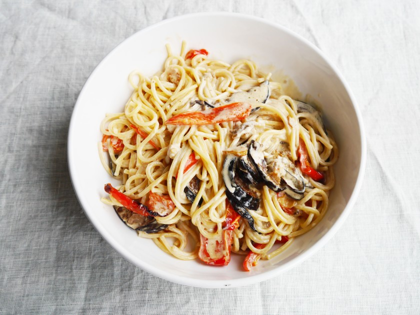 Creamy Spaghetti with Crispy Aubergines and Roasted Red Peppers | Cate in the Kitchen