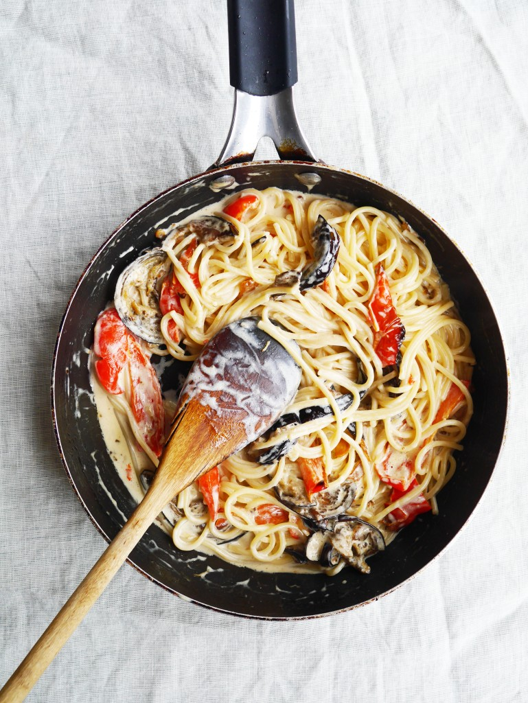 Creamy Spaghetti with Crispy Aubergine and Roasted Red Peppers | Cate in the Kitchen