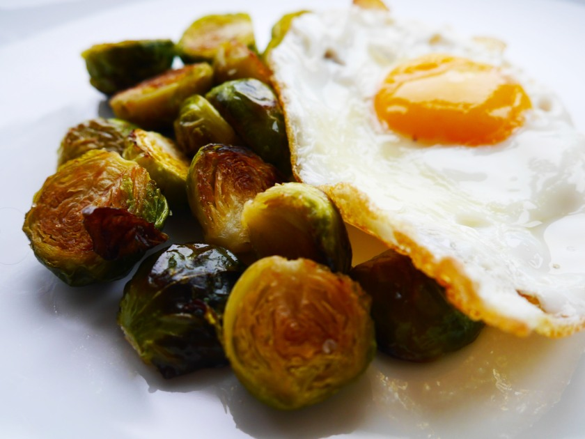 Roasted Brussel Sprouts and a Crispy Fried Egg