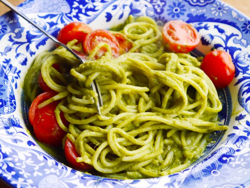 Vegan Creamy, Garlicky, Lemony, Green Pasta Sauce on Cate in the Kitchen
