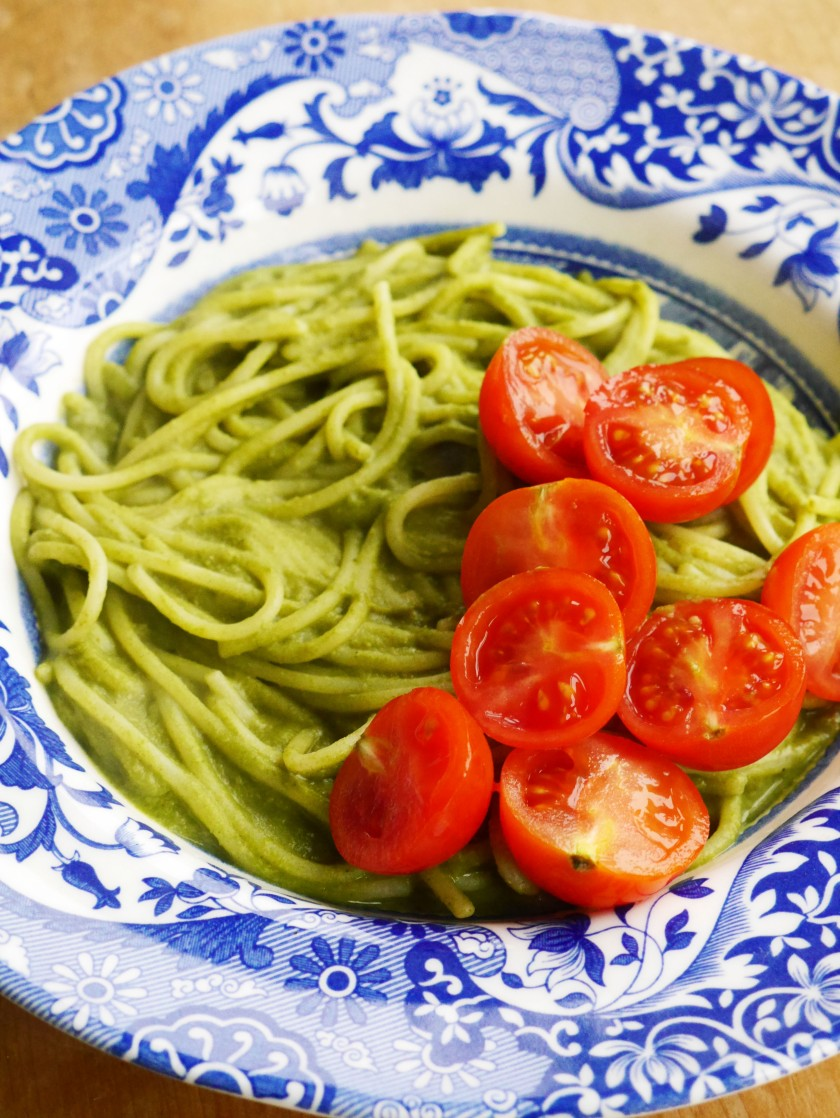 Vegan Creamy Green Pasta Sauce on Cate in the Kitchen