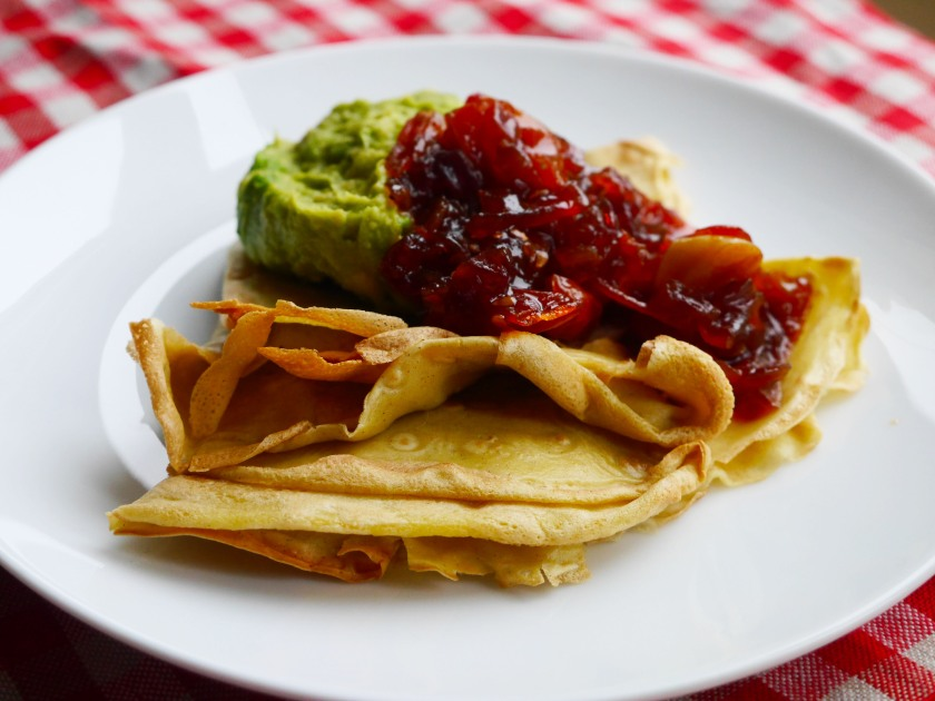 Tomato Jam and Avocado Pancakes