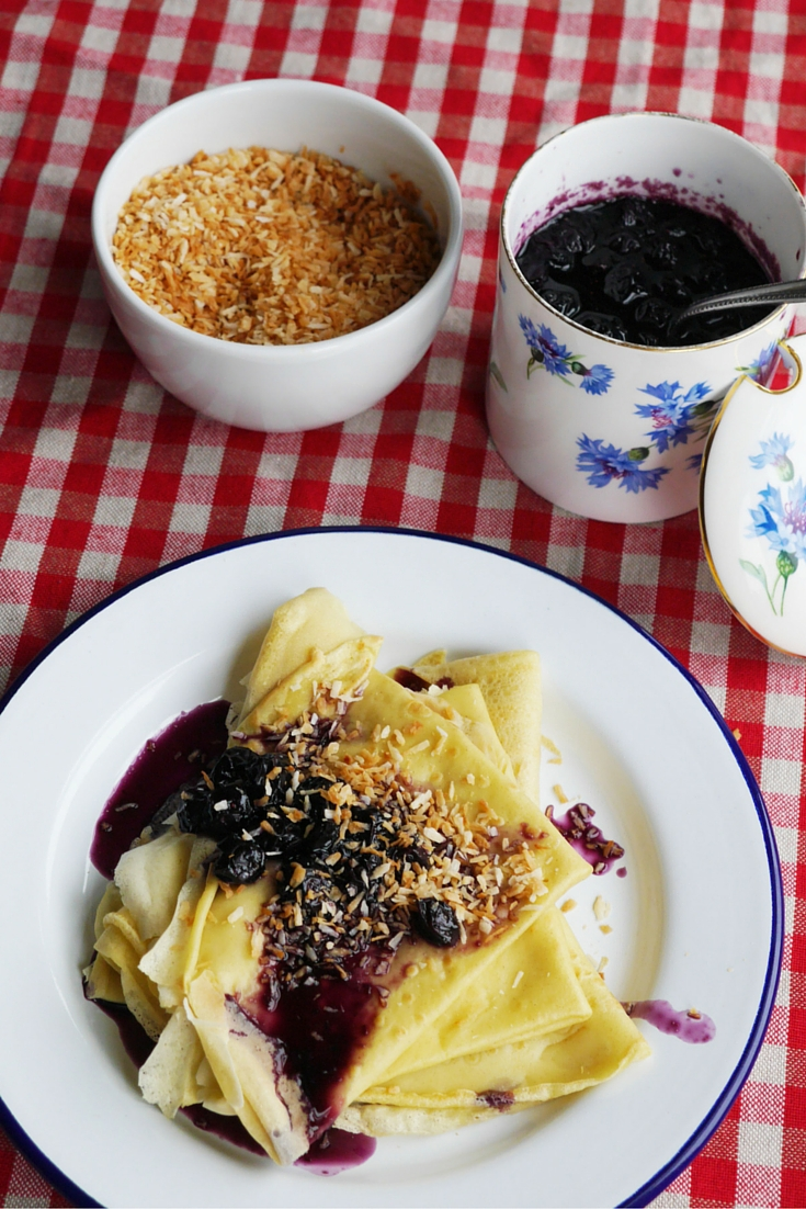 Marzipan Pancakes with Blueberry Syrup and Toasted Coconut on Cate in the Kitchen