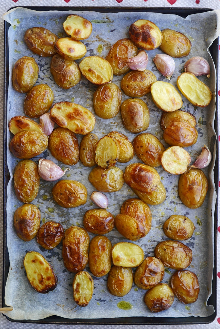 Lemon + Garlic Baby Potatoes on Cate in the Kitchen
