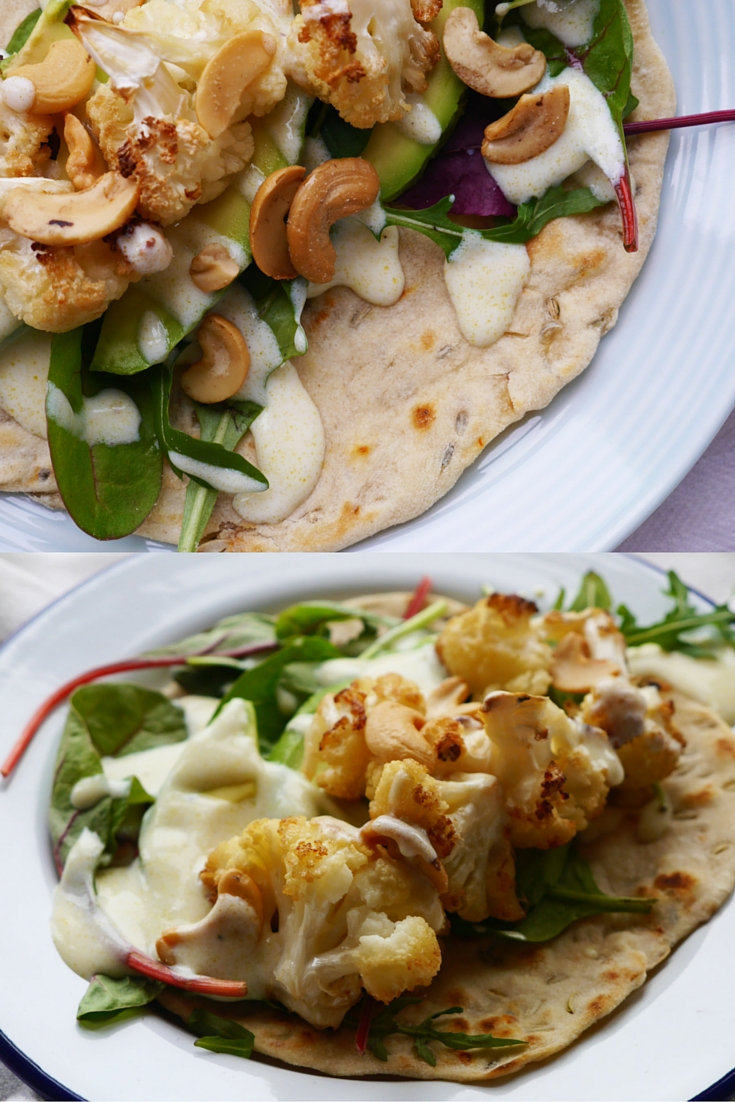 Roasted Chilli and Garlic Flatbreads with Roasted Cauliflower