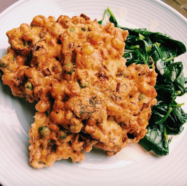 sweetcorn and chickpea fritters
