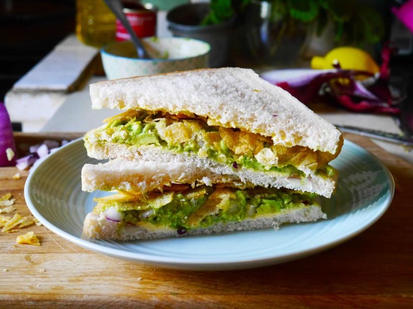 Avocado and Prawn Cocktail Crisp Sandwich