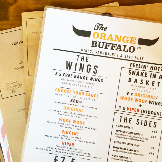 The Orange Buffalo Menu