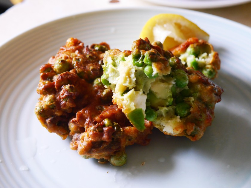 Pea Avocado Feta Fritters