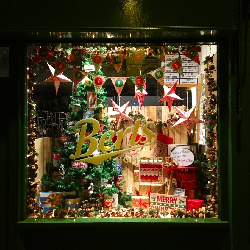Bert' Homestore Christmas Window Display