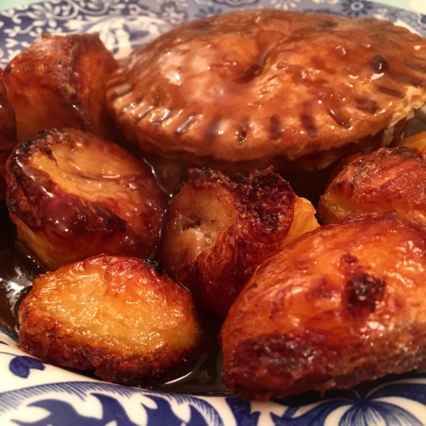 Vegan pie and roast potatoes