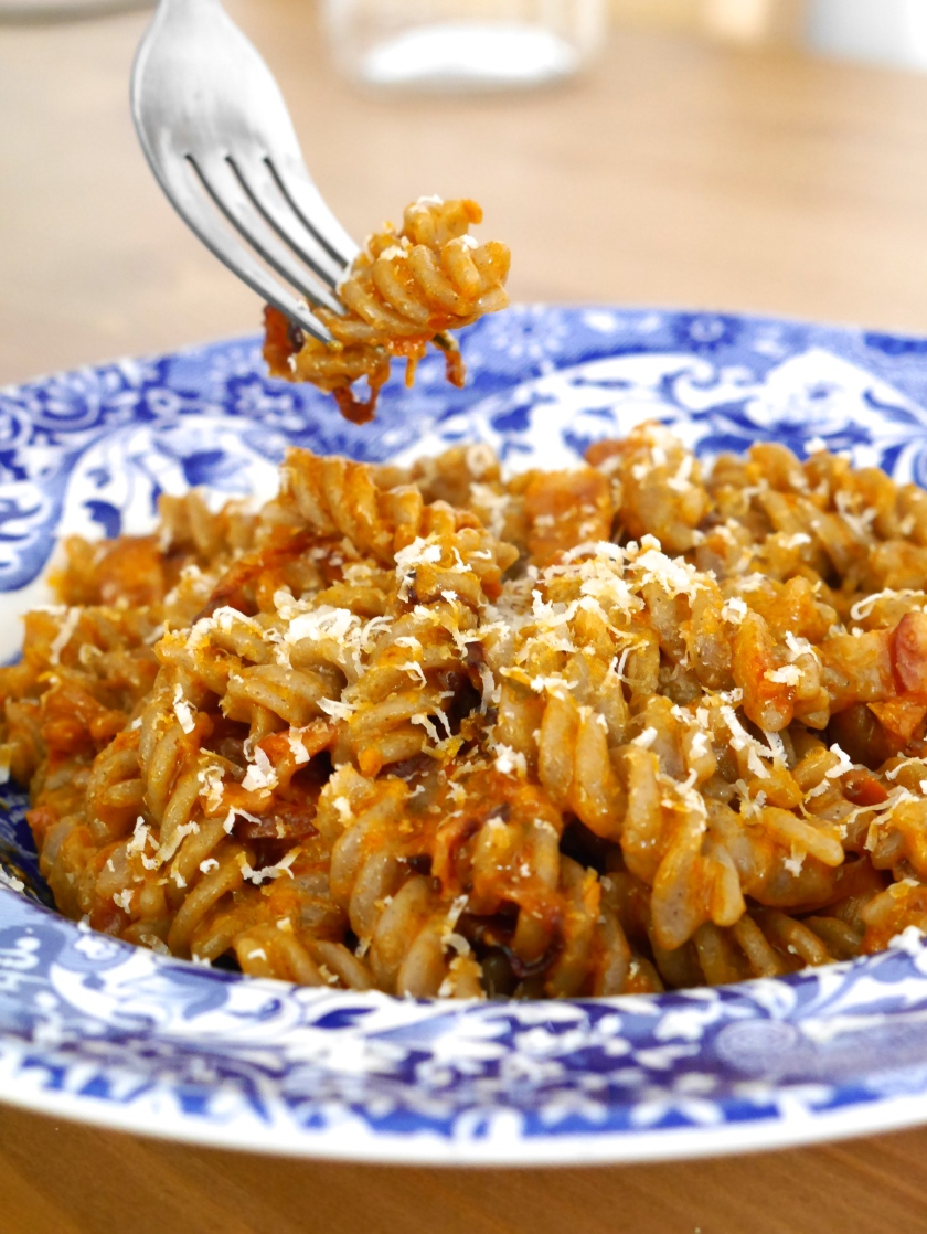 Creamy Red Pesto and Pancetta Buckwheat Pasta