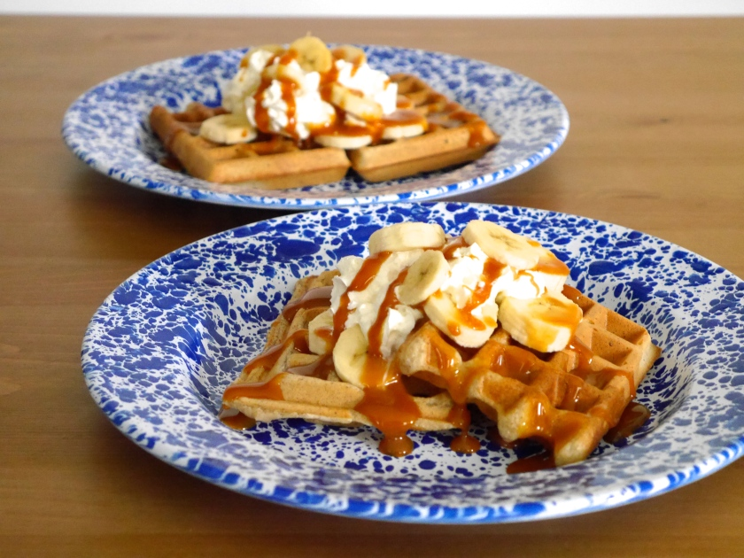 Rye Waffles with Banana and Salted Caramel