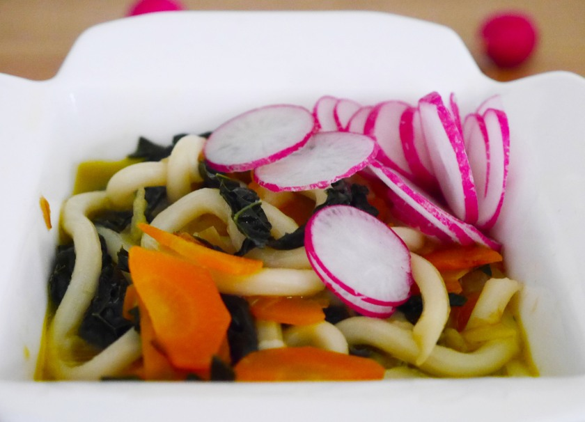 Udon Noodle Soup with Cavalo Nero and Radishes